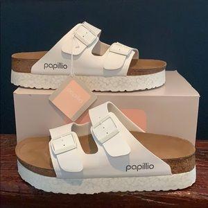 BIRKENSTOCK Papillio White Marble Platform Sandals